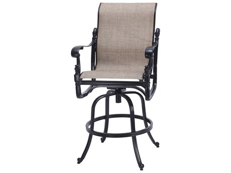 Gensun Florence Sling Cast Aluminum Swivel Bar Stool
