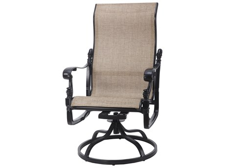 Gensun Florence Sling Cast Aluminum High Back Swivel Rocker