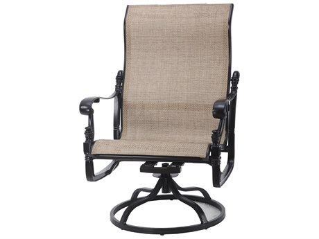 Gensun Florence Sling Cast Aluminum High Back Swivel Rocking Lounge Chair