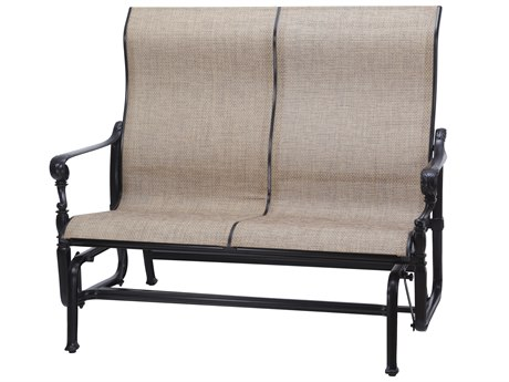 GenSun Grand Terrace Sling Cast Aluminum High Back Loveseat Glider