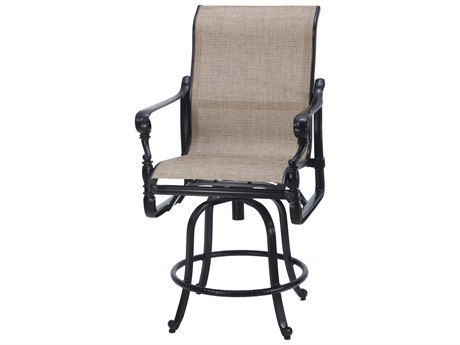 GenSun Grand Terrace Sling Cast Aluminum Swivel Balcony Stool