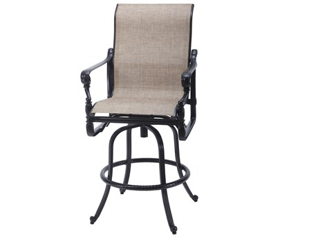 Gensun Grand Terrace Sling Cast Aluminum Swivel Bar Stool