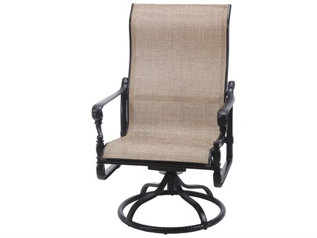 Gensun Grand Terrace Sling Cast Aluminum High Back Swivel Rocking Lounge Chai