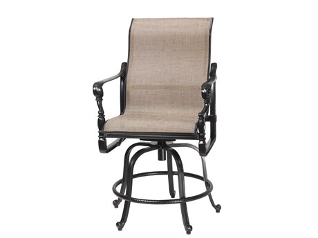 Gensun Grand Terrace Sling Cast Aluminum Swivel Rocking Balcony Stool