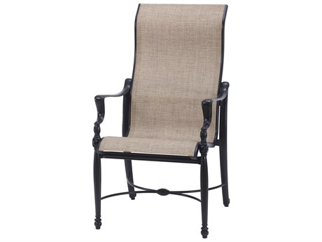 Gensun Bel Air Sling Cast Aluminum High Back Dining Arm Chair