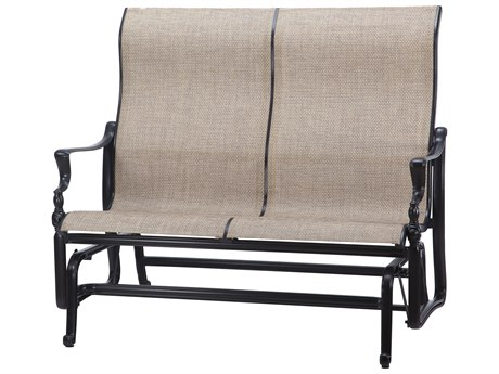 GenSun Bel Air Sling Cast Aluminum High Back Loveseat Glider