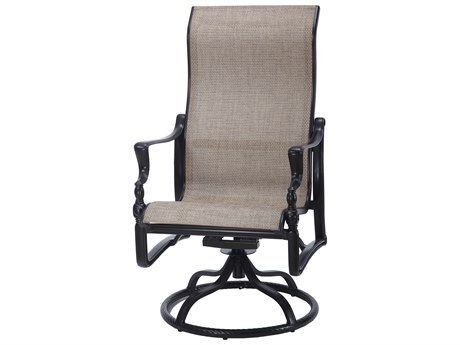Gensun Bel Air Sling Cast Aluminum High Back Swivel Rocker Dining Arm Chair PatioLiving