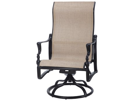 Gensun Bel Air Sling Cast Aluminum High Back Swivel Rocker Lounge Chair