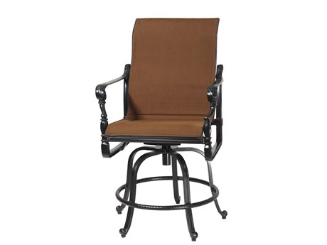 GenSun Grand Terrace Padded Sling Cast Aluminum Swivel Rocking Balcony Stool