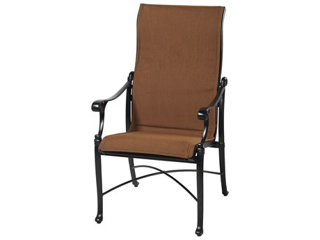 Gensun Michigan Padded Sling Cast Aluminum High Back Dining Chair
