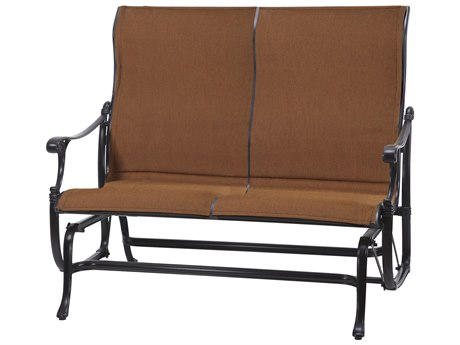 GenSun Michigan Padded Sling Cast Aluminum High Back Loveseat Glider