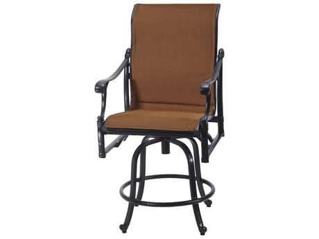 GenSun Michigan Padded Sling Cast Aluminum Swivel Balcony Stool