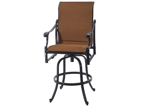 Gensun Michigan Padded Sling Cast Aluminum Swivel Bar Stool