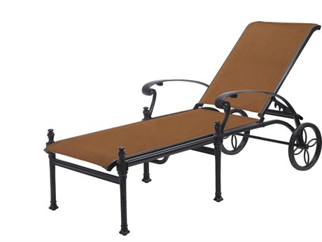 Gensun Michigan Padded Sling Cast Aluminum Chaise Lounge