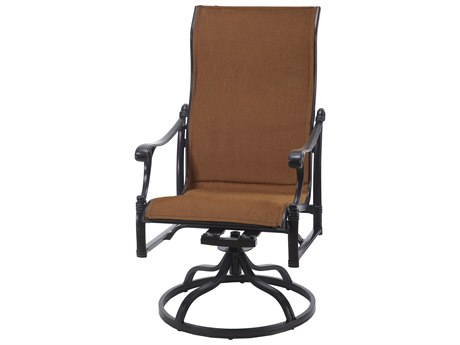 Gensun Michigan Padded Sling Cast Aluminum High Back Swivel Rocker