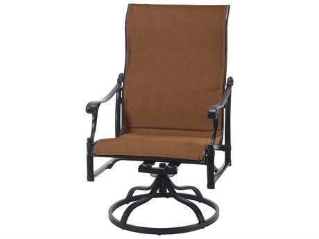 Gensun Michigan Padded Sling Cast Aluminum High Back Swivel Rocking Lounge Chair
