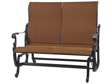 GenSun Florence Padded Sling Cast Aluminum High Back Loveseat Glider