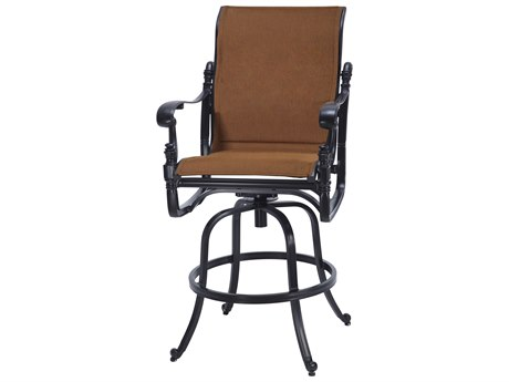 Gensun Florence Padded Sling Cast Aluminum Swivel Bar Stool
