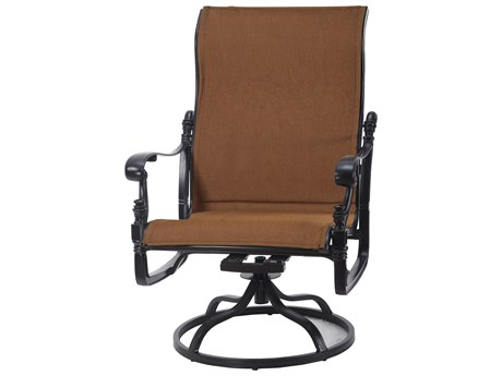 Gensun Florence Padded Sling Cast Aluminum High Back Swivel Rocking Lounge Chair
