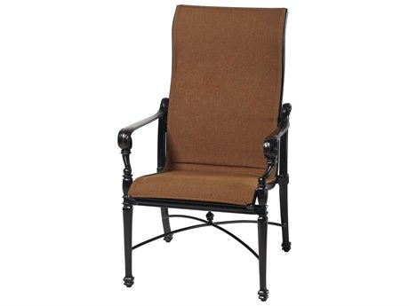 Gensun Grand Terrace Padded Sling Cast Aluminum High Back Dining Chair