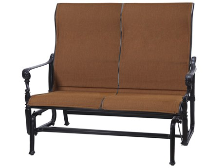 GenSun Grand Terrace Padded Sling Cast Aluminum High Back Loveseat Glider