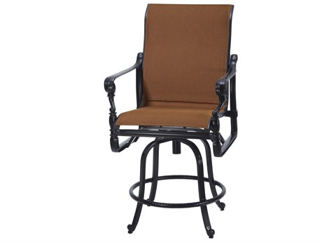 GenSun Grand Terrace Padded Sling Cast Aluminum Swivel Balcony Stool