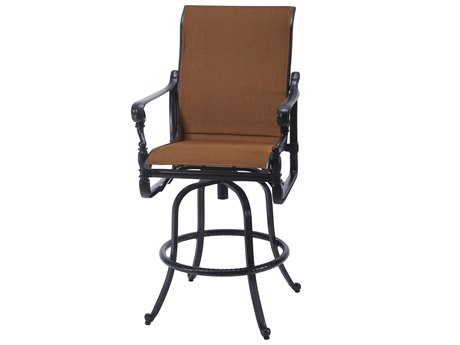 Gensun Grand Terrace Padded Sling Cast Aluminum Swivel Bar Stool