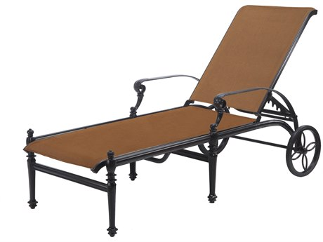 Gensun Grand Terrace Padded Sling Cast Aluminum Chaise Lounge
