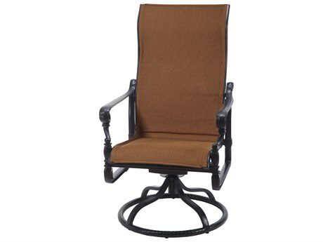 Gensun Grand Terrace Padded Sling Cast Aluminum High Back Swivel Rocker