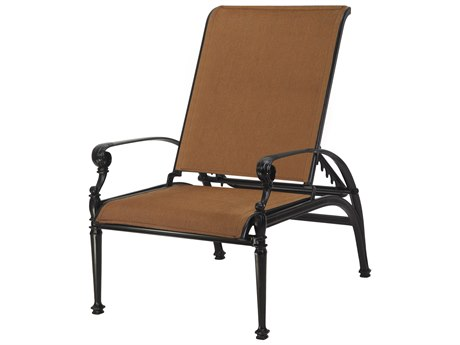 Gensun Grand Terrace Padded Sling Cast Aluminum Reclining Chair