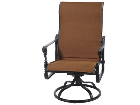 Gensun Grand Terrace Padded Sling Cast Aluminum High Back Swivel Rocking Lounge Chair