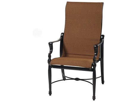 Gensun Bel Air Padded Sling Cast Aluminum High Back Dining Arm Chair