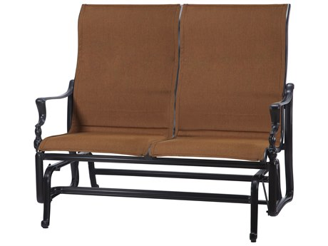 GenSun Bel Air Padded Sling Cast Aluminum High Back Loveseat Glider