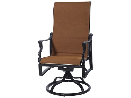 Gensun Bel Air Padded Sling Cast Aluminum High Back Swivel Rocker Dining Arm Chair