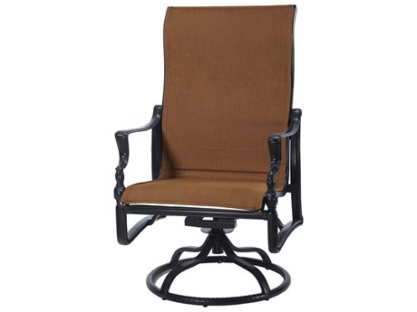 Gensun Bel Air Padded Sling Cast Aluminum High Back Swivel Rocking Lounge Chair