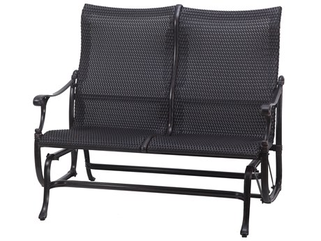 GenSun Michigan Woven Cast Aluminum High Back Loveseat Glider