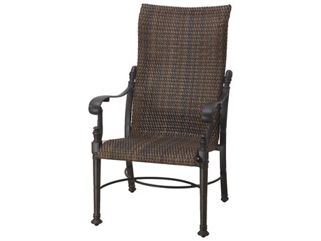 GenSun Florence Woven Cast Aluminum High Back Dining Chair