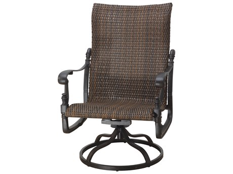 Gensun Florence Woven Cast Aluminum High Back Swivel Rocking Lounge Chair