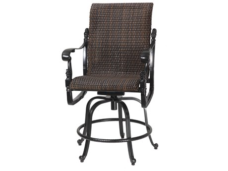 GenSun Florence Woven Cast Aluminum Swivel Rocking Balcony Stool