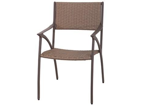 Gensun Amari Woven Aluminum Carbon Dining Arm Chair PatioLiving