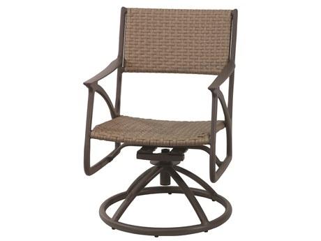 Gensun Amari Woven Aluminum Carbon Swivel Rocker Dining Arm Chair PatioLiving