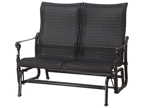GenSun Grand Terrace Woven Cast Aluminum High Back Loveseat Glider