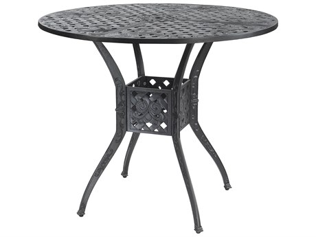GenSun Verona Cast Aluminum 48 Round Bar Table with Umbrella Hole