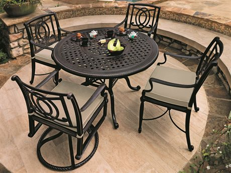 GenSun Bel Air Cast Aluminum Cushion Dining Set