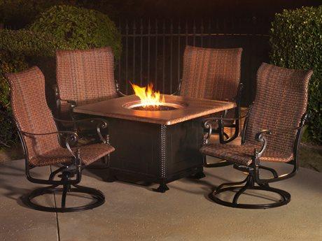 Gensun Florence Woven Cast Aluminum Fire Pit Lounge Set PatioLiving