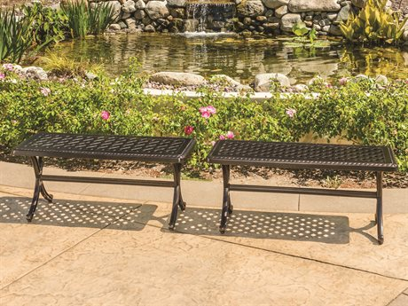 Gensun Grand Terrace Cast Aluminum Backless Bench Set GESGRNDTRRCEBCKLSBNCHSET