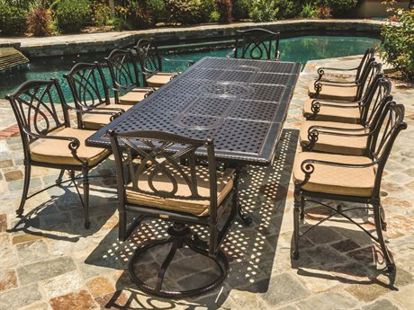 GenSun Grand Terrace Cast Aluminum Cushion Dining Set