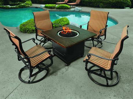Gensun Grand Terrace Padded Sling Cast Aluminum Fire Pit Lounge Set