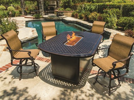 Gensun Grand Terrace Sling Cast Aluminum Counter Dining Set with Fire Pit