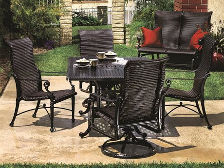 GenSun Grand Terrace Woven Cast Aluminum Dining Set